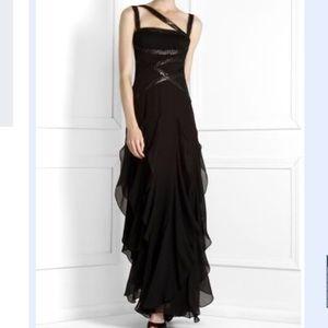 BCBGMaxAzria Silk Sleeveless Ruffle Maxi Dress